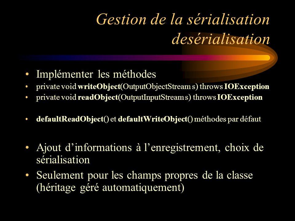 Gestion de la sérialisation desérialisation