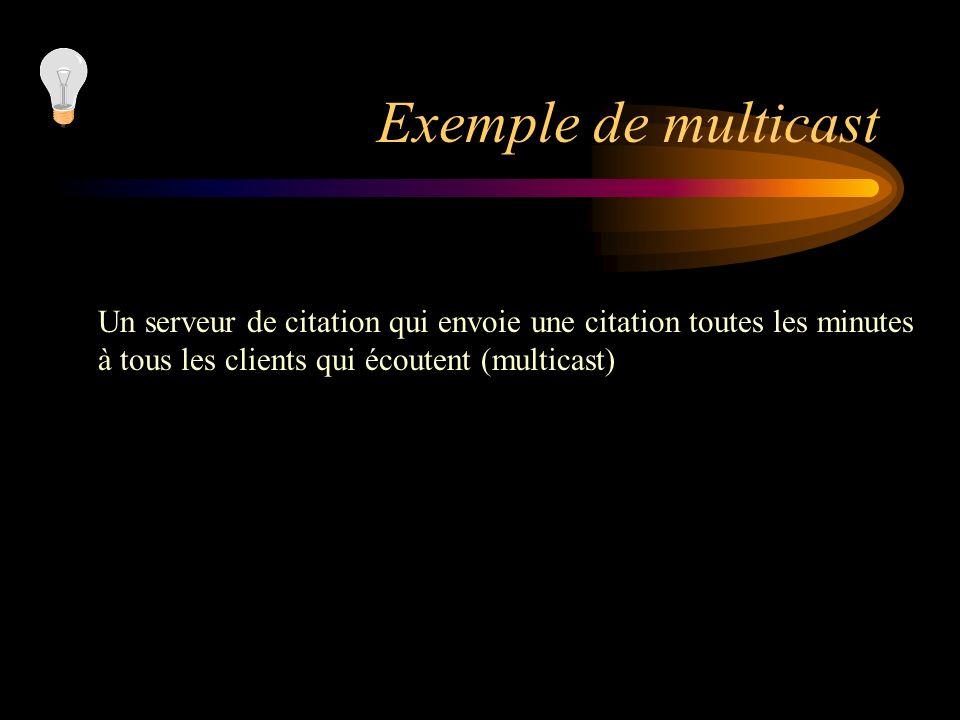 Exemple de multicast Un serveur de citation qui envoie une citation toutes les minutes.