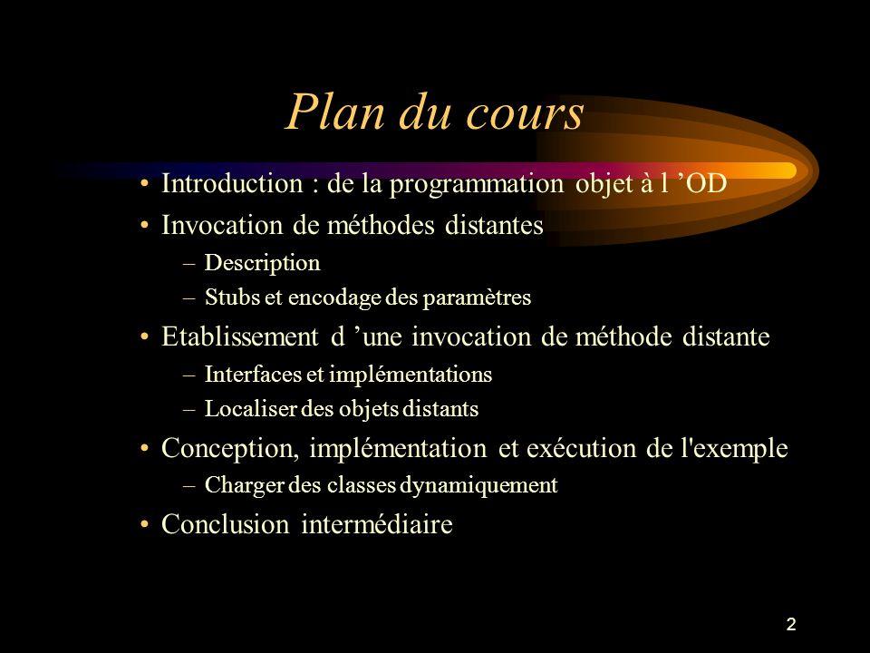 Plan du cours Introduction : de la programmation objet à l 'OD