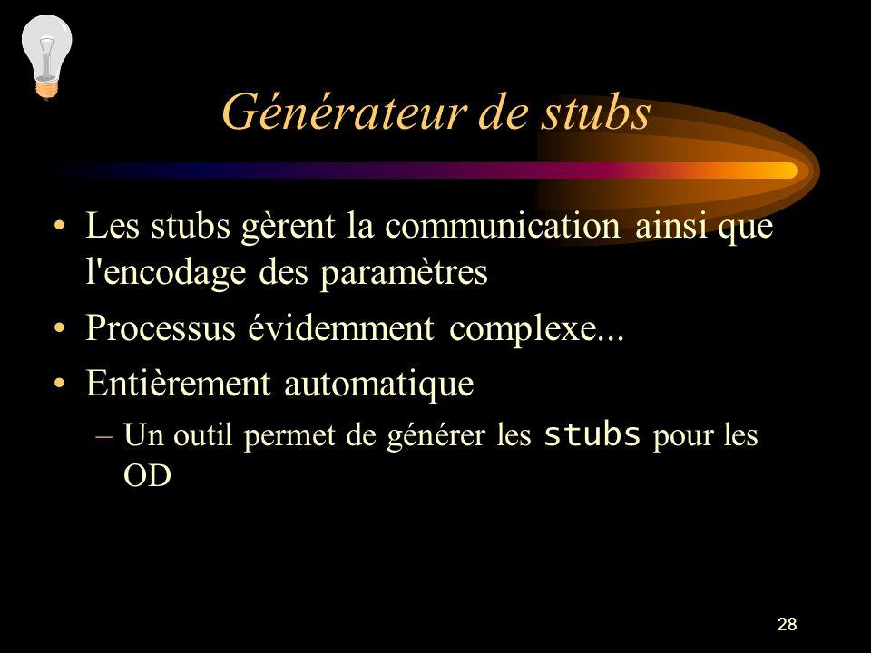 Générateur de stubsLes stubs gèrent la communication ainsi que l encodage des paramètres. Processus évidemment complexe...