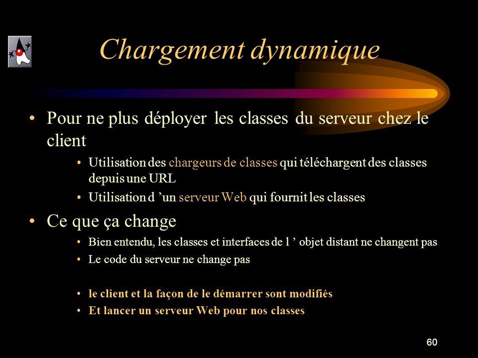Chargement dynamiquePour ne plus déployer les classes du serveur chez le client.