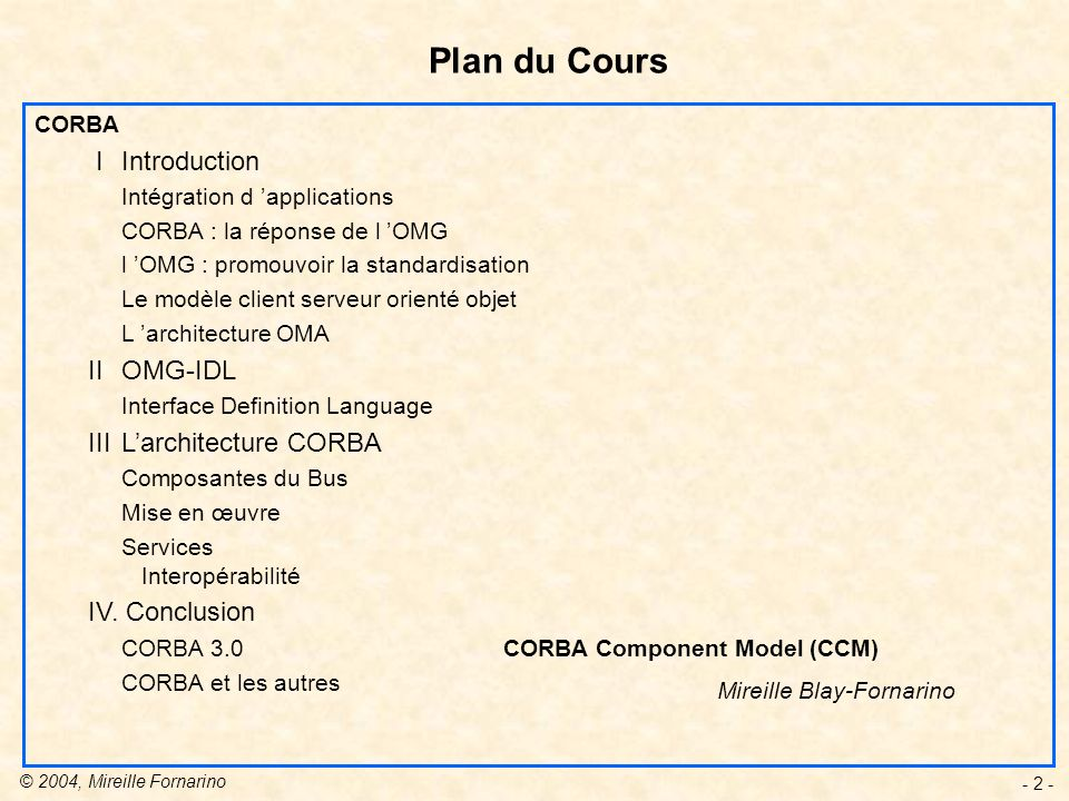 Plan du Cours I Introduction II OMG-IDL III L'architecture CORBA