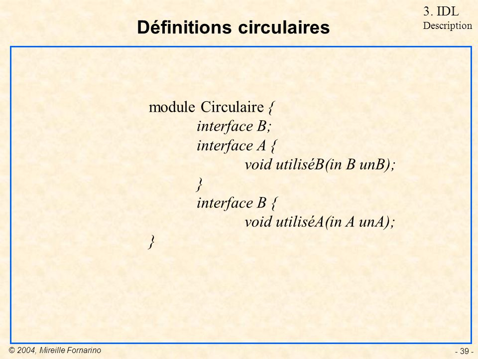 Définitions circulaires
