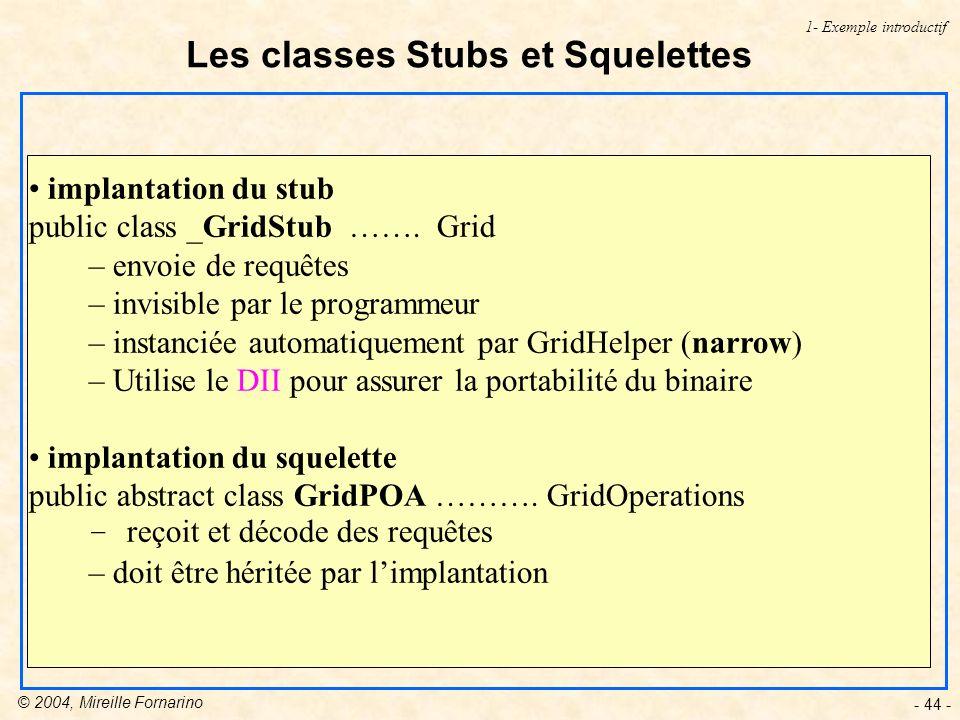 Les classes Stubs et Squelettes
