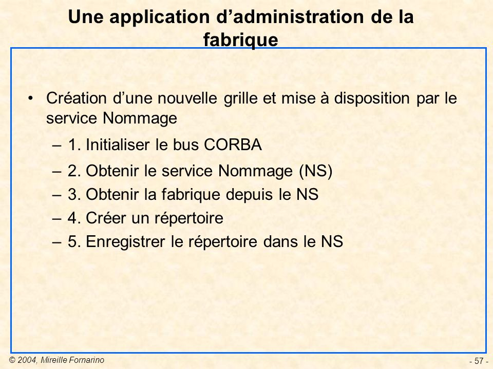 Une application d'administration de la fabrique
