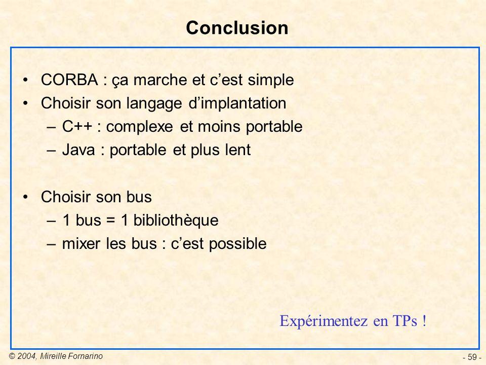 Conclusion CORBA : ça marche et c'est simple