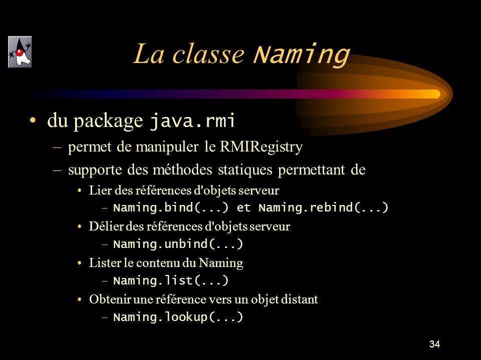 La classe Naming du package java.rmi