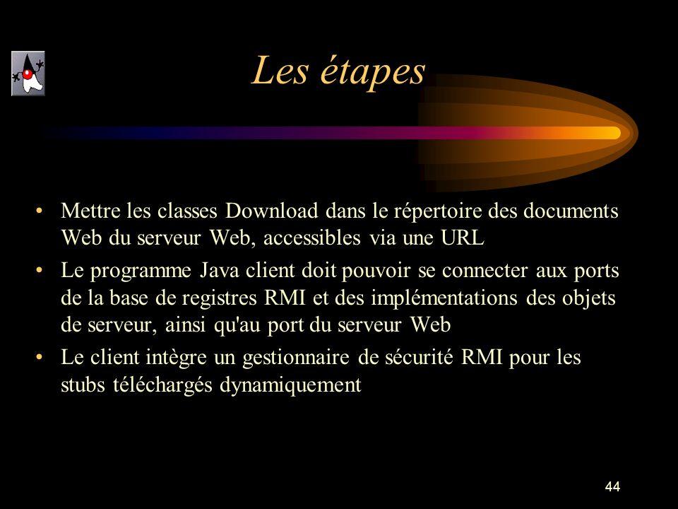 Les étapes Mettre les classes Download dans le répertoire des documents Web du serveur Web, accessibles via une URL.