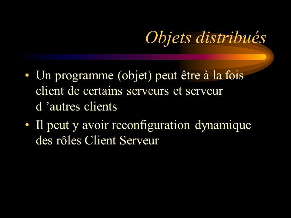 Objets distribués Un programme (objet) peut être à la fois client de certains serveurs et serveur d 'autres clients.