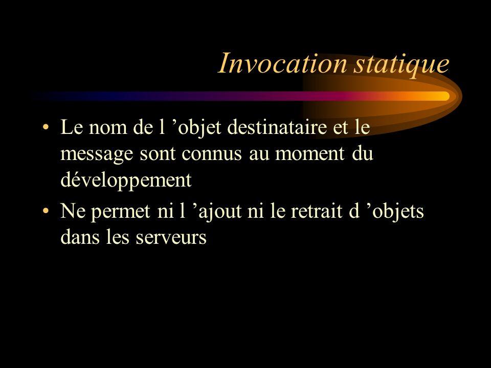 Invocation statique Le nom de l 'objet destinataire et le message sont connus au moment du développement.