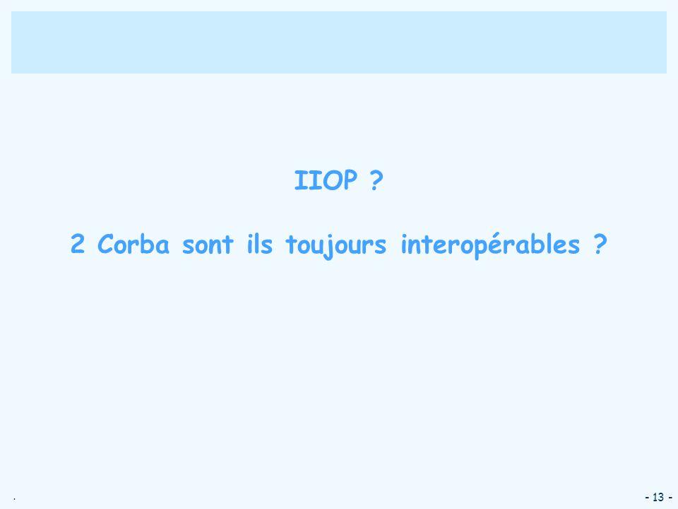 IIOP 2 Corba sont ils toujours interopérables