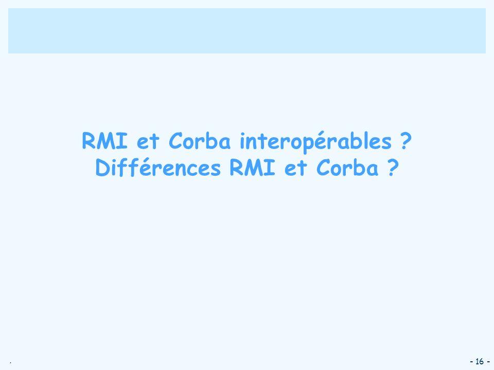 RMI et Corba interopérables Différences RMI et Corba