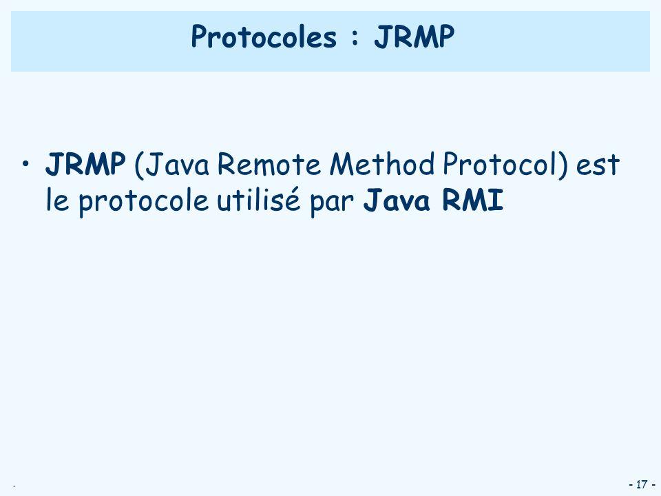 Protocoles : JRMP JRMP (Java Remote Method Protocol) est le protocole utilisé par Java RMI - 17 -