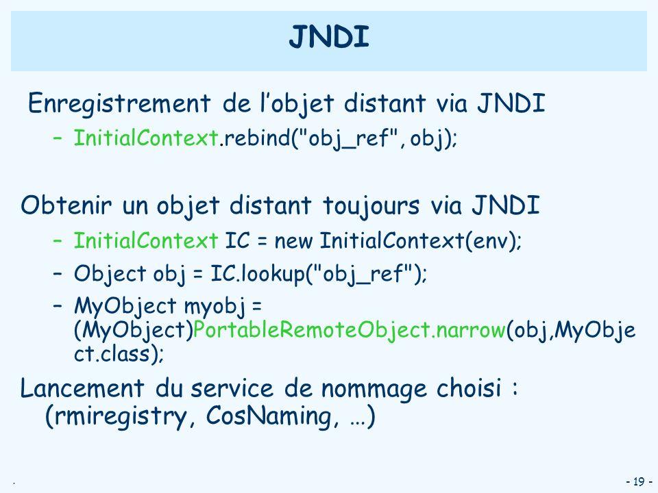 JNDI Enregistrement de l'objet distant via JNDI