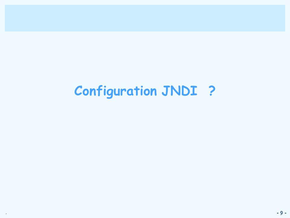 Configuration JNDI - 9 -