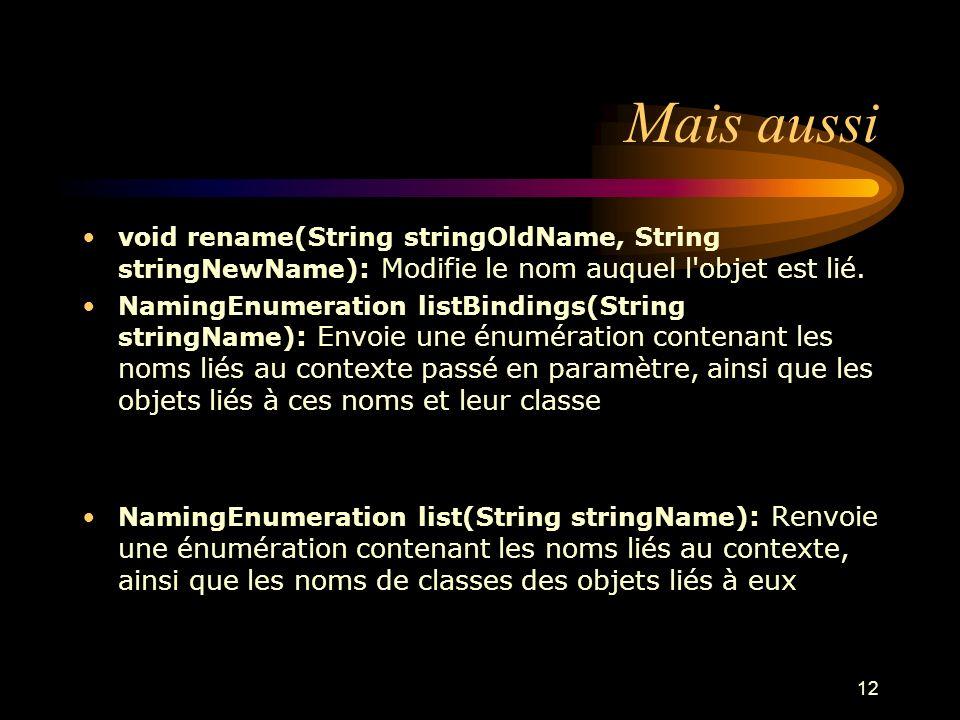 Mais aussi void rename(String stringOldName, String stringNewName): Modifie le nom auquel l objet est lié.
