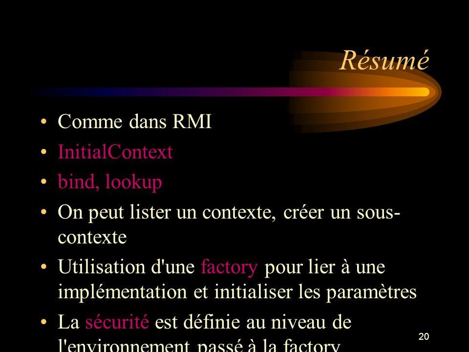 Résumé Comme dans RMI InitialContext bind, lookup