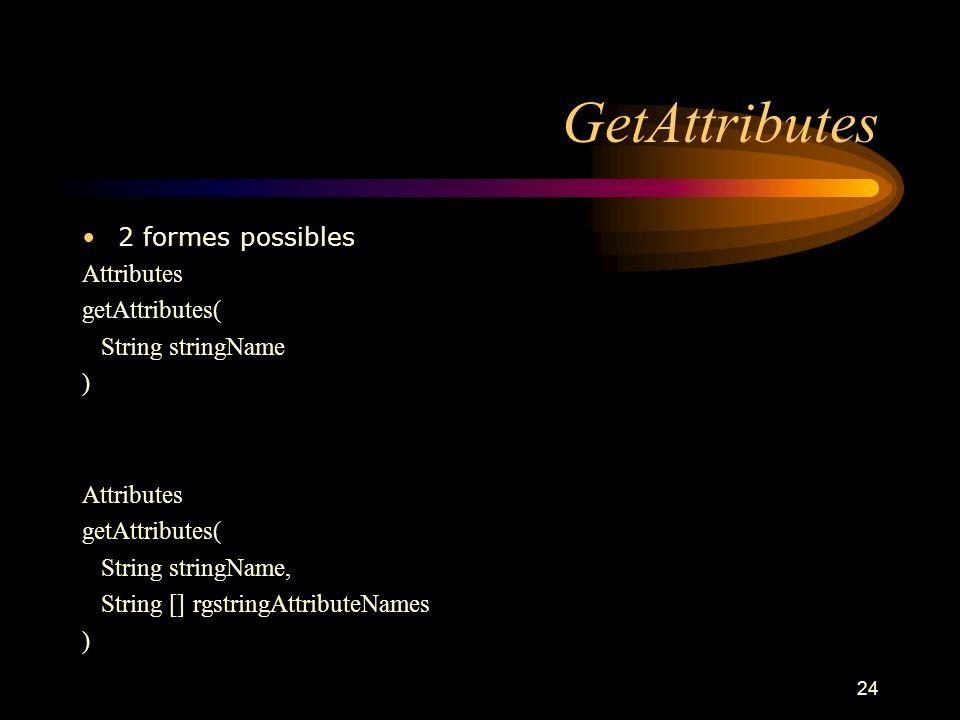 GetAttributes 2 formes possibles Attributes getAttributes(