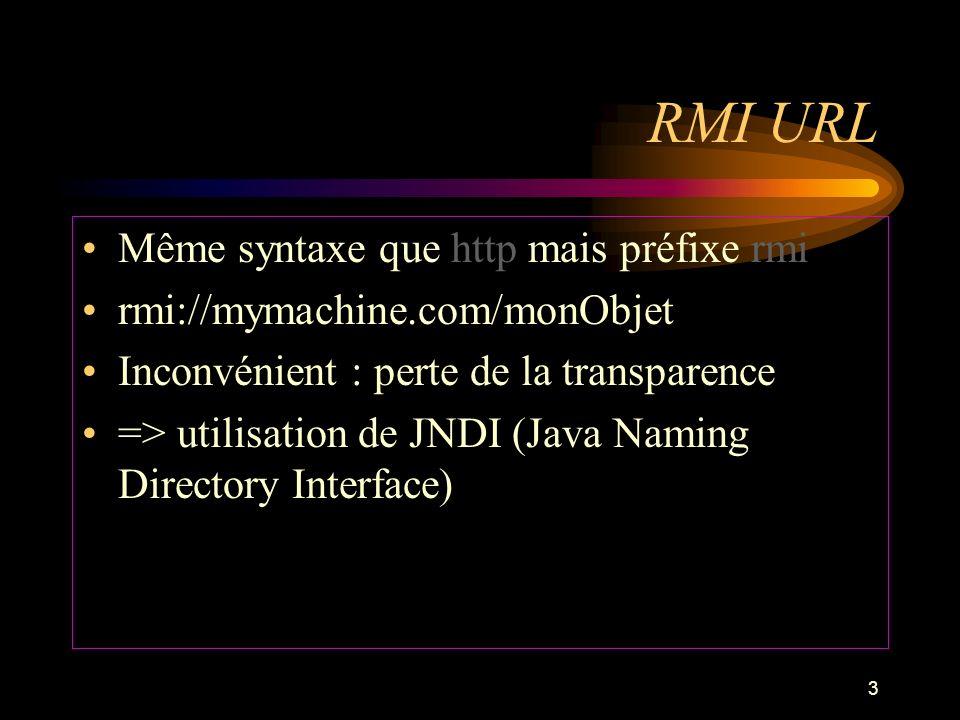 RMI URL Même syntaxe que http mais préfixe rmi