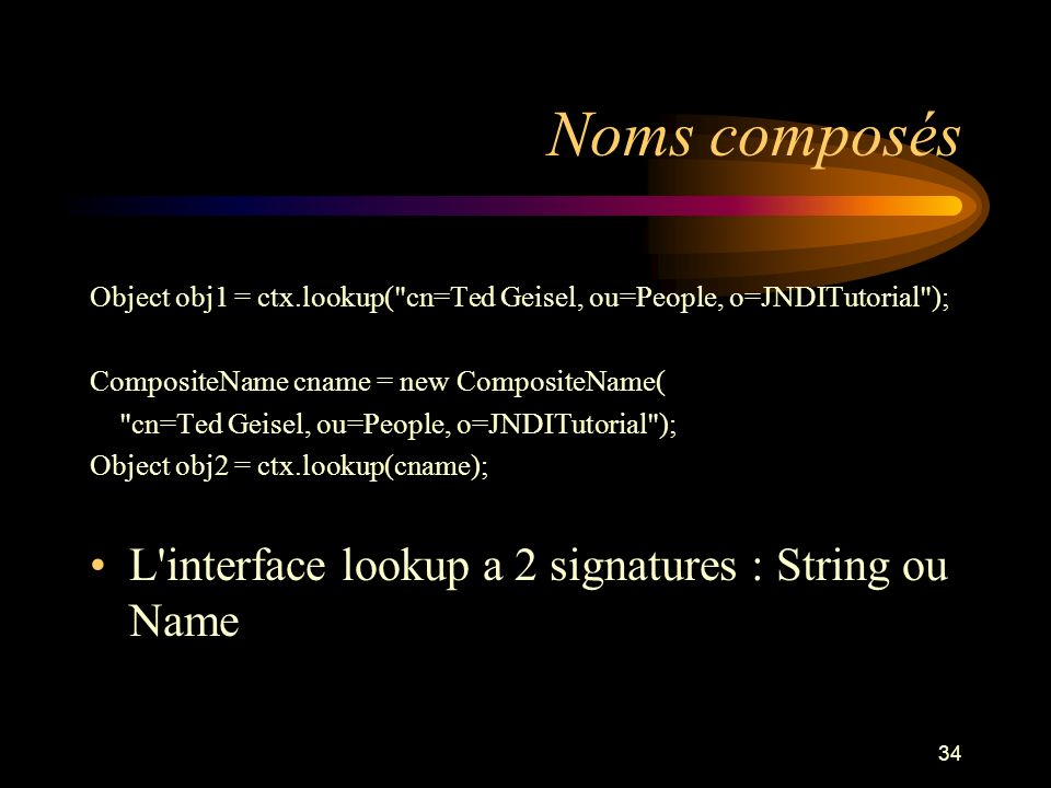 Noms composés L interface lookup a 2 signatures : String ou Name