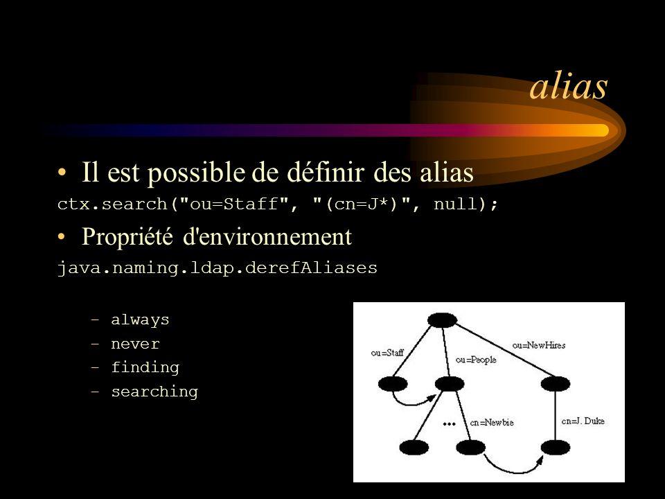 alias Il est possible de définir des alias Propriété d environnement