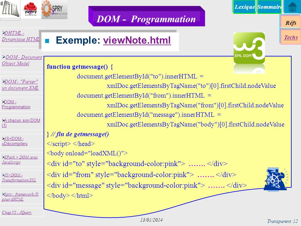 Exemple: viewNote.html