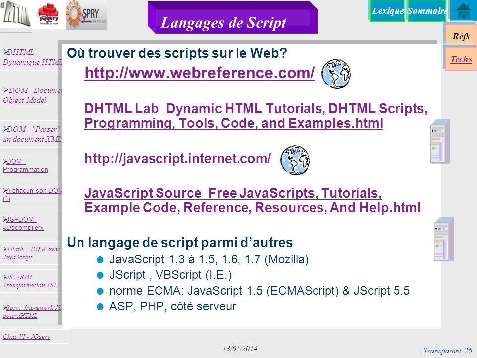 Langages de Script http://www.webreference.com/