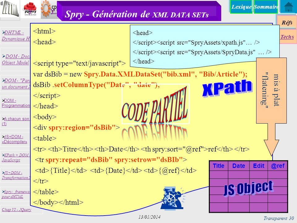 Spry - Génération de XML DATA SETs