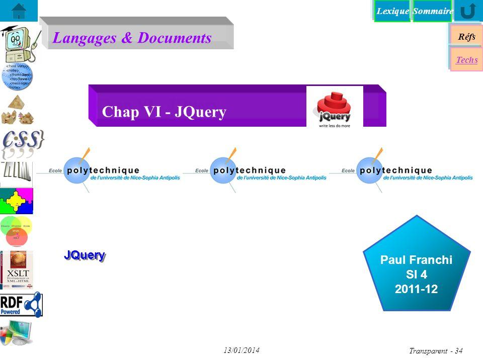 Chap VI - JQuery JQuery Objectif pédagogique