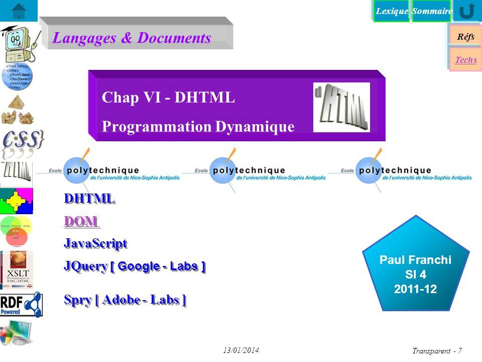 Chap VI - DHTML Programmation Dynamique