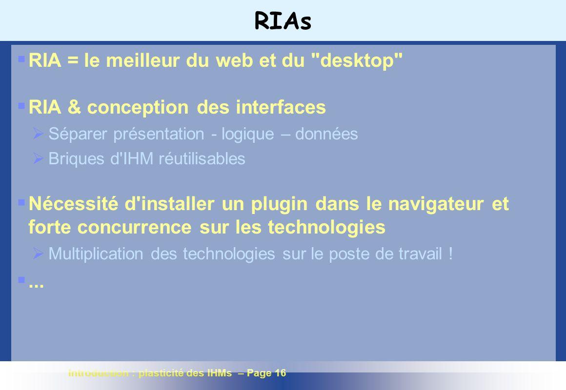 RIAs RIA = le meilleur du web et du desktop