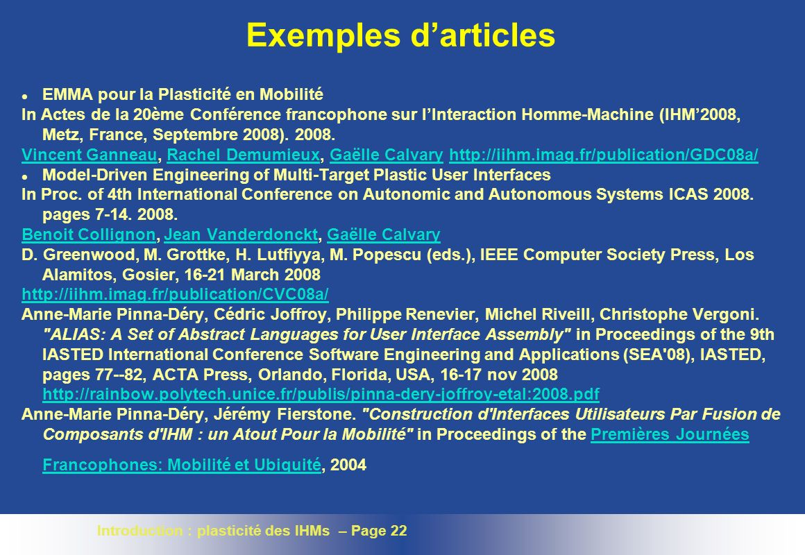 Exemples d'articles EMMA pour la Plasticité en Mobilité