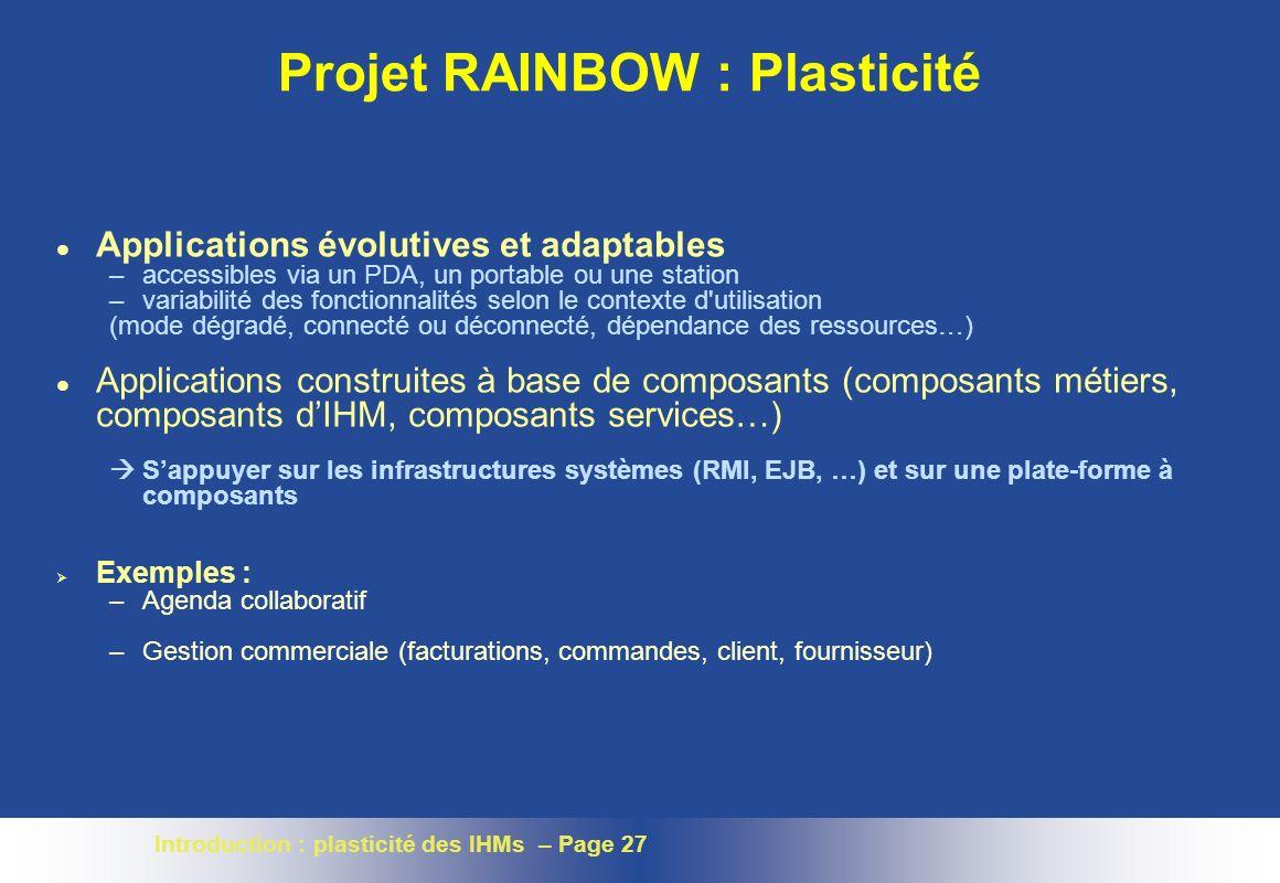 Projet RAINBOW : Plasticité