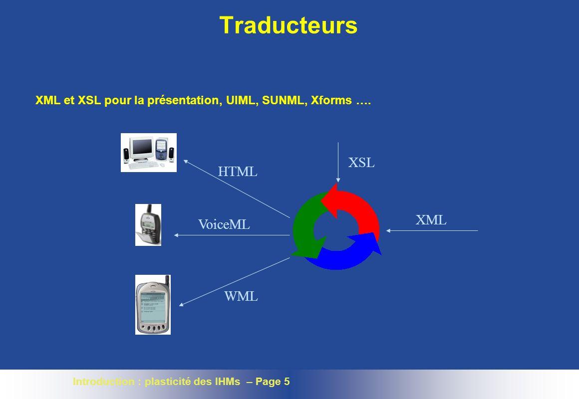 Traducteurs XSL HTML XML VoiceML WML