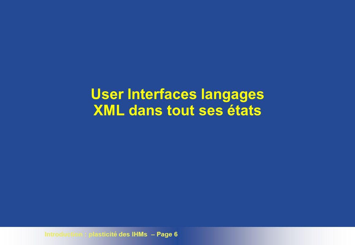 User Interfaces langages XML dans tout ses états