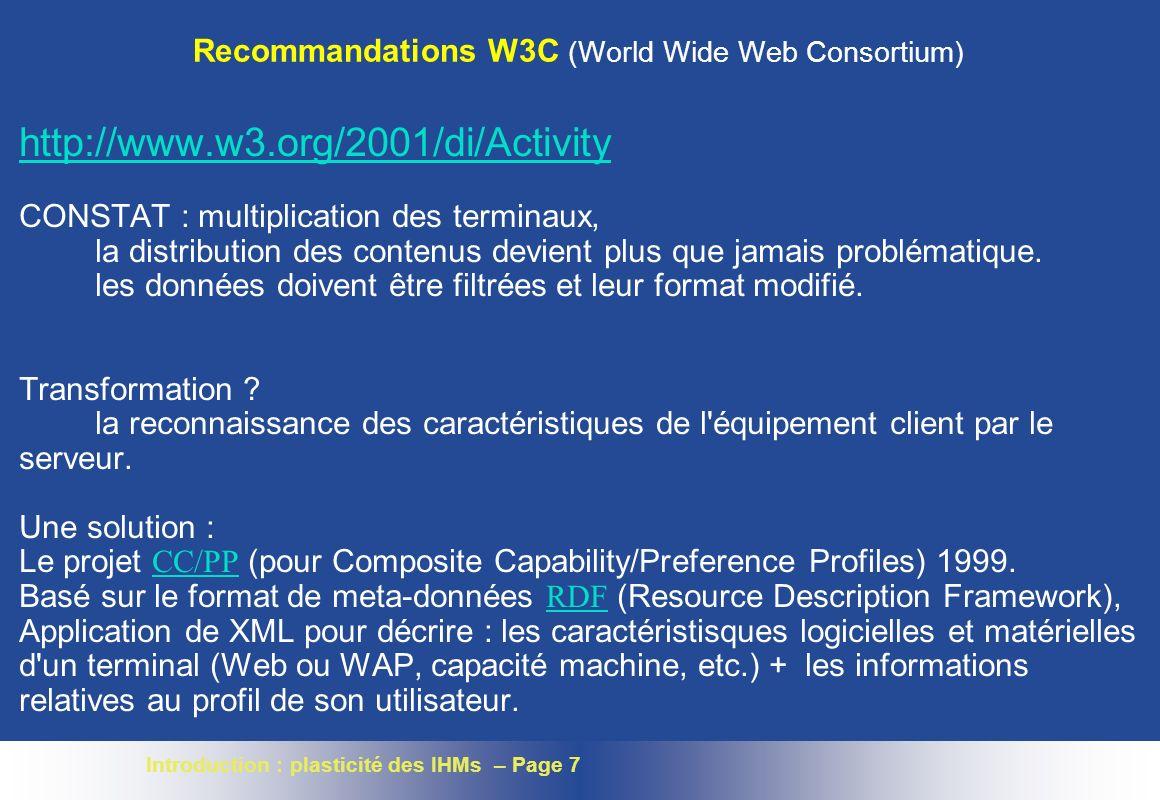 Recommandations W3C (World Wide Web Consortium)