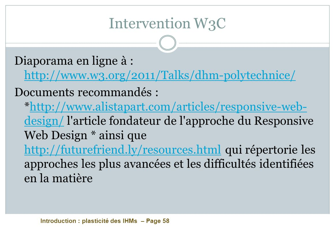 Intervention W3C