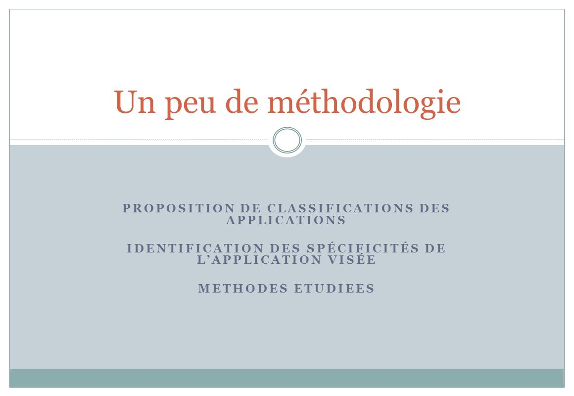 Un peu de méthodologie Proposition de Classifications des applications