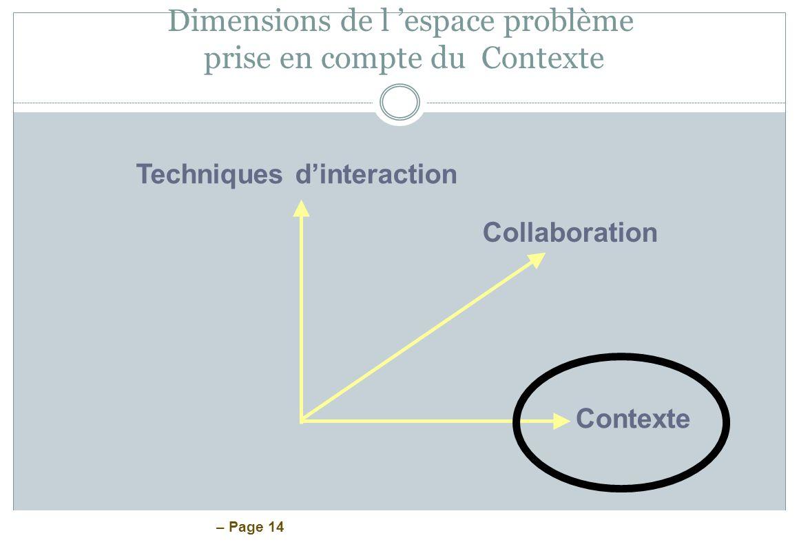 Dimensions de l 'espace problème prise en compte du Contexte