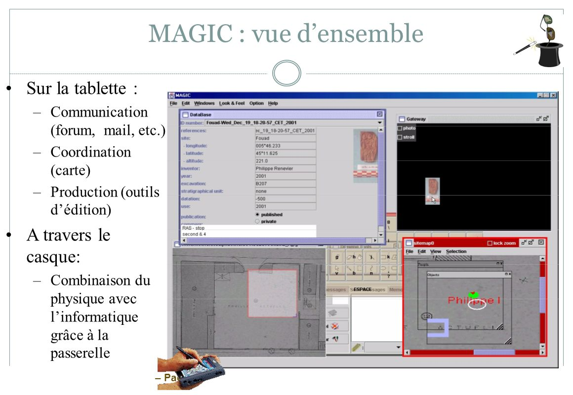 MAGIC : vue d'ensemble Sur la tablette : A travers le casque: