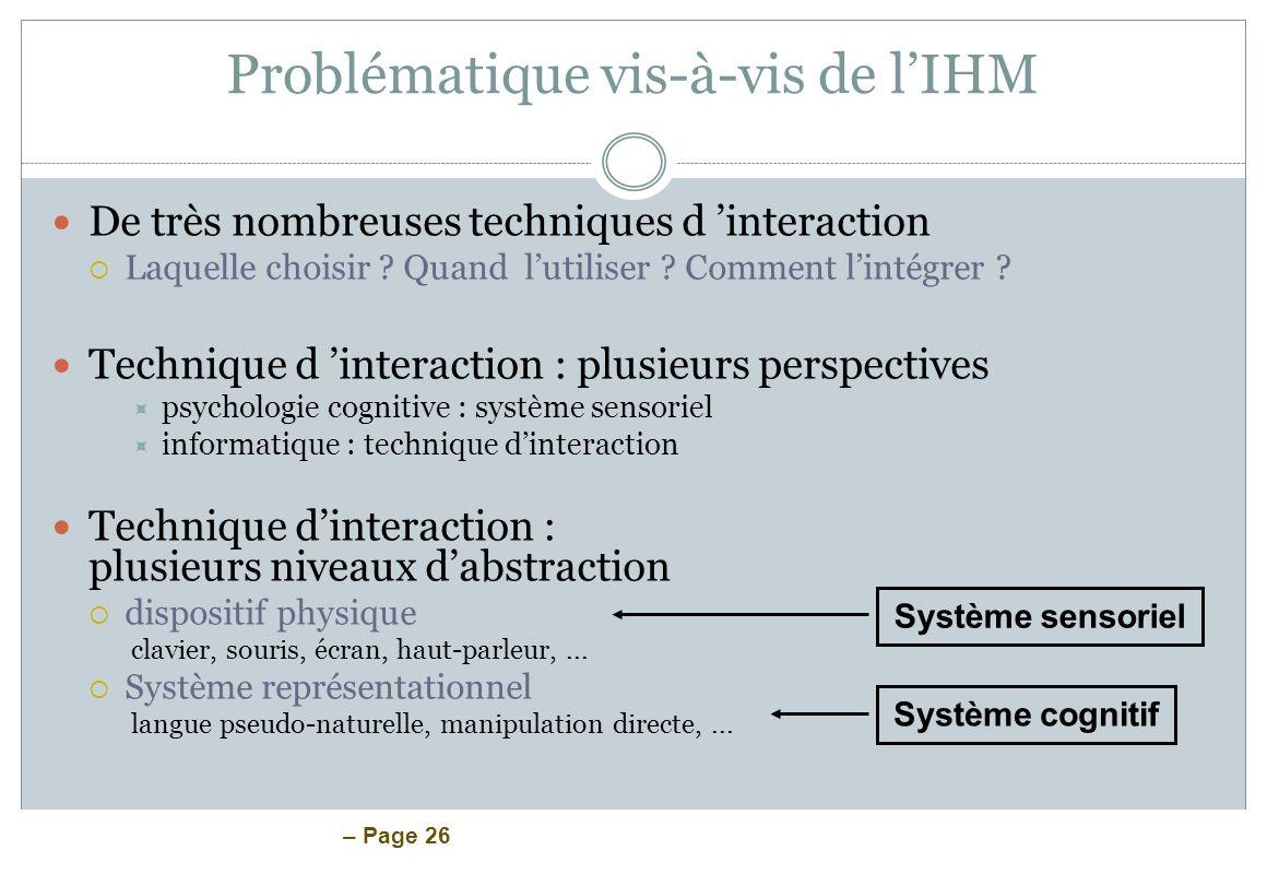 Problématique vis-à-vis de l'IHM