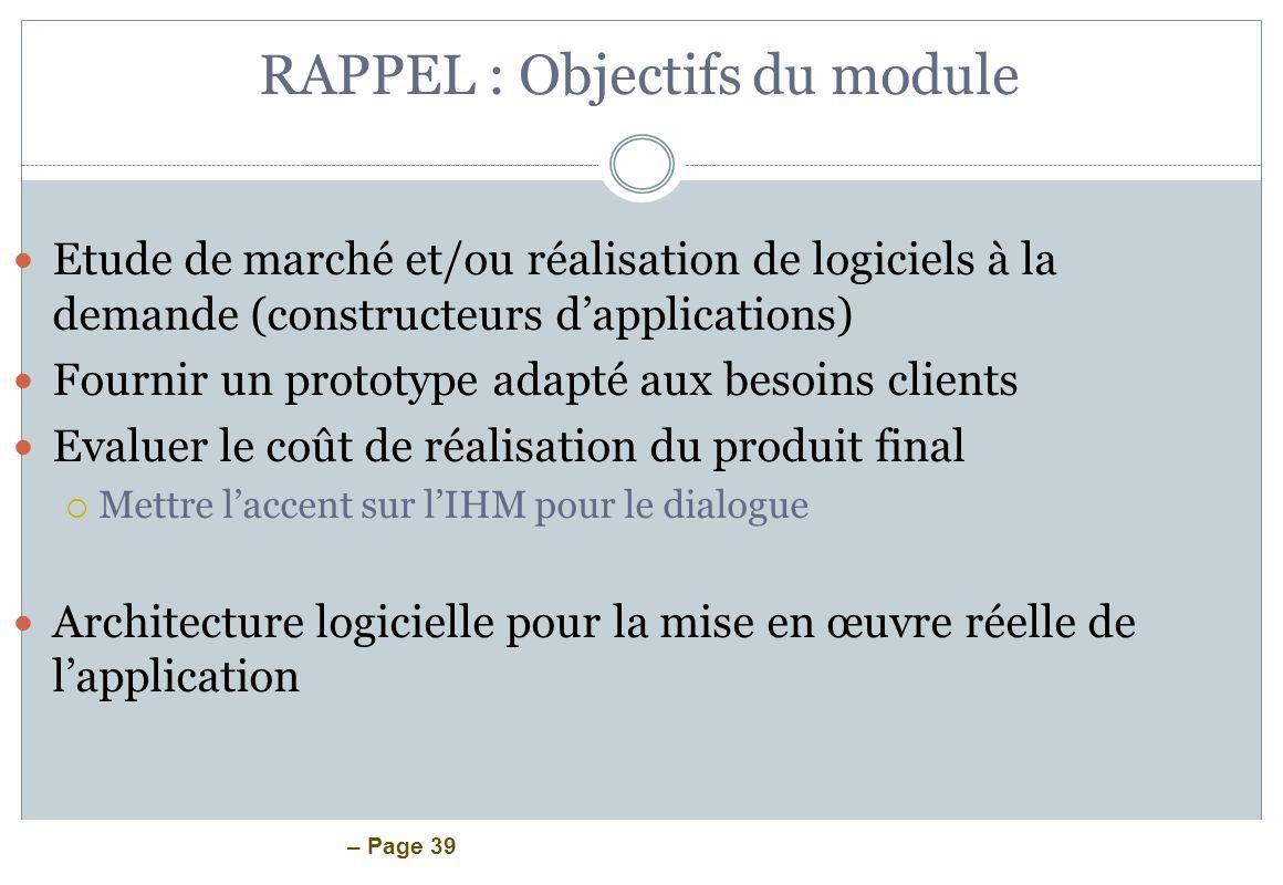 RAPPEL : Objectifs du module