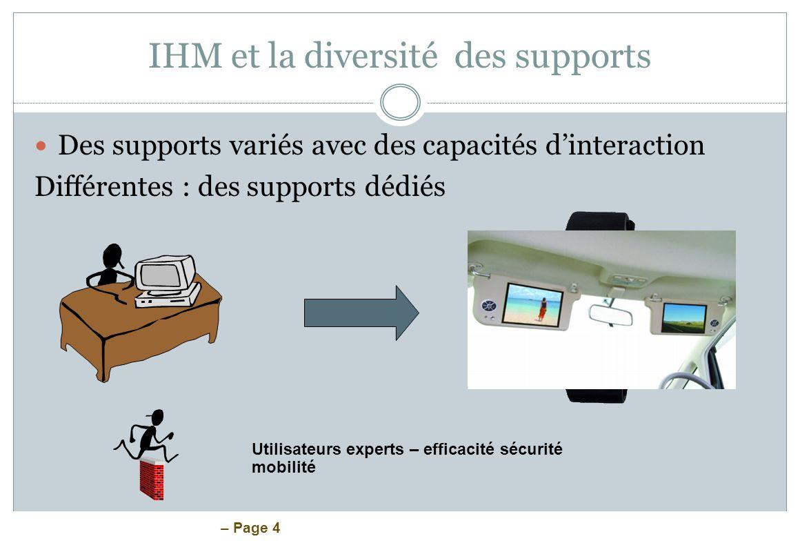 IHM et la diversité des supports