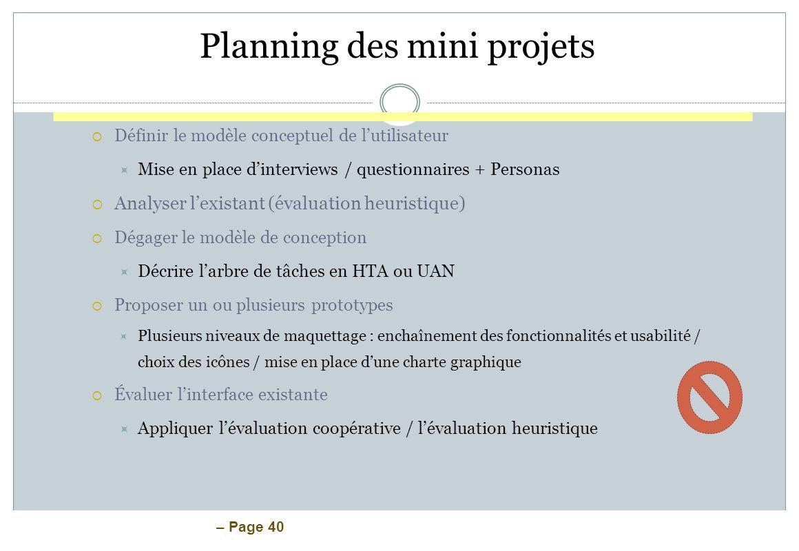 Planning des mini projets