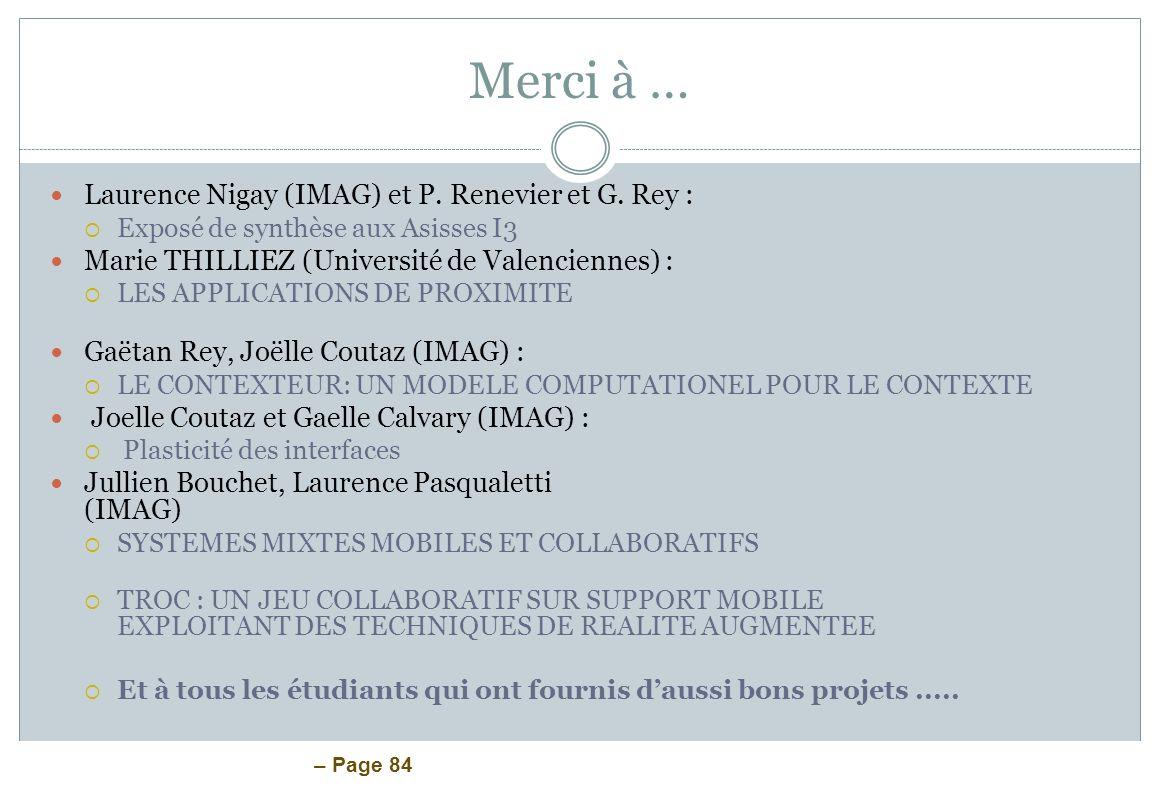 Merci à … Laurence Nigay (IMAG) et P. Renevier et G. Rey :