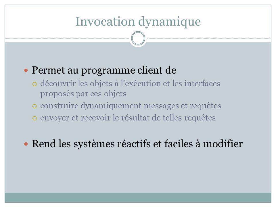 Invocation dynamique Permet au programme client de