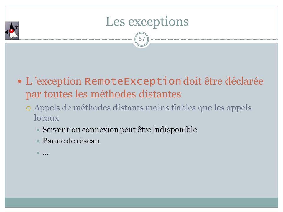 Les exceptions L 'exception RemoteException doit être déclarée par toutes les méthodes distantes.