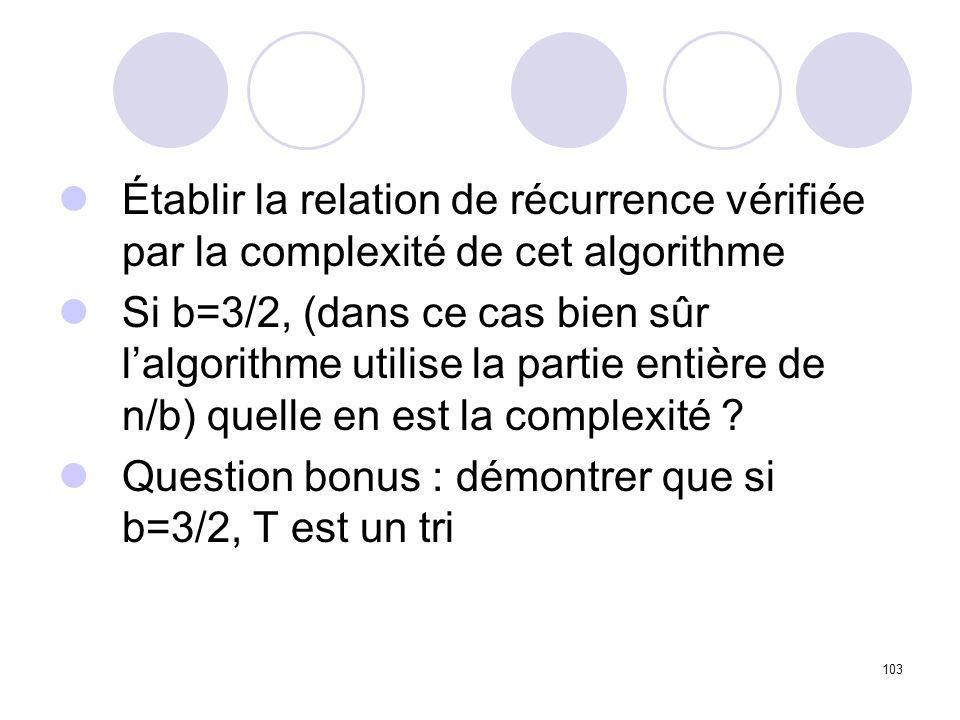Établir la relation de récurrence vérifiée par la complexité de cet algorithme