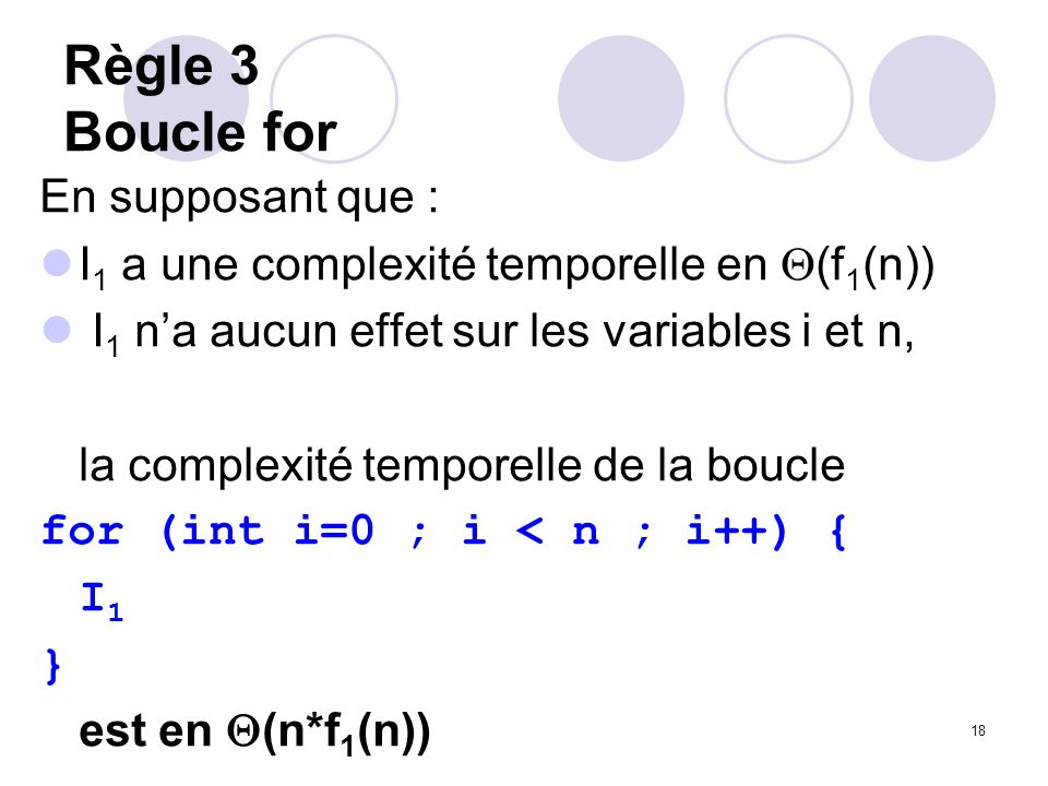 Règle 3 Boucle for En supposant que :