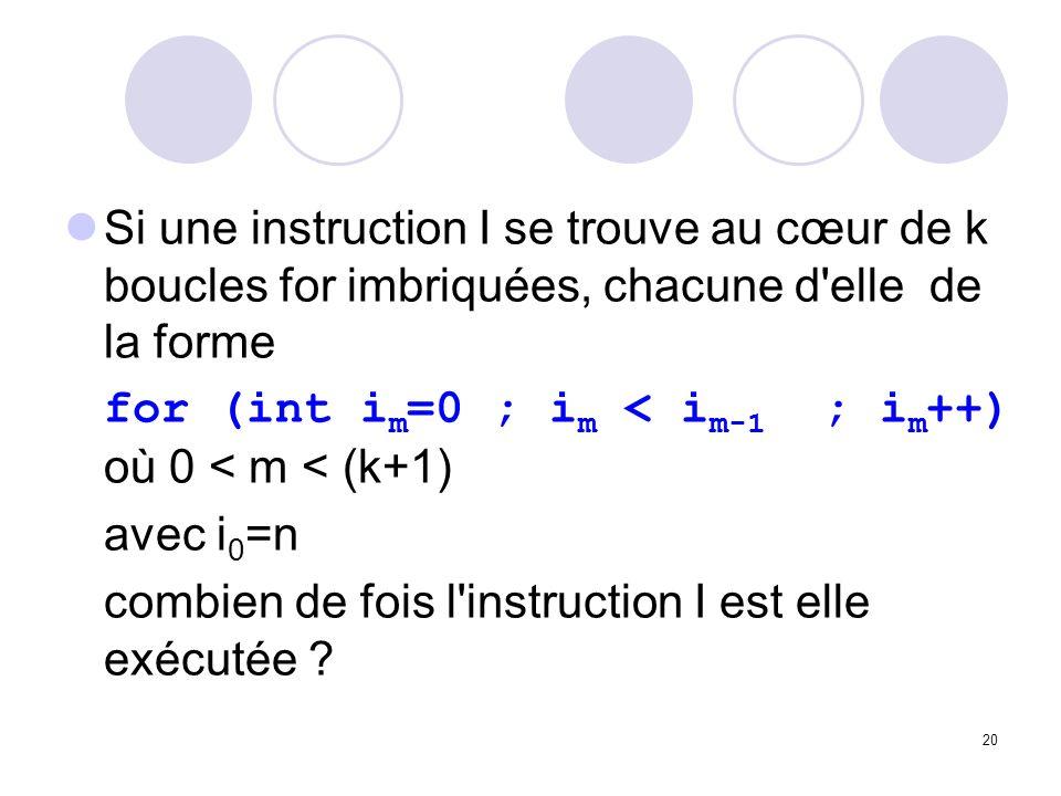 Si une instruction I se trouve au cœur de k boucles for imbriquées, chacune d elle de la forme